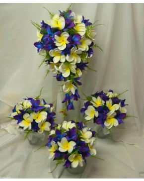 Latex blue singapore orchid white yellow frangipani wedding latex blue singapore orchid white yellow frangipani wedding bouquet set mightylinksfo