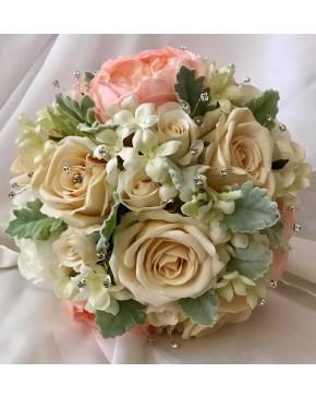 Silk peach peony ivory rose stephanotis with dusty miller bridal bridal artificial posy bouquet silk peach peony ivory rose stephanotis with dusty miller diamante mightylinksfo