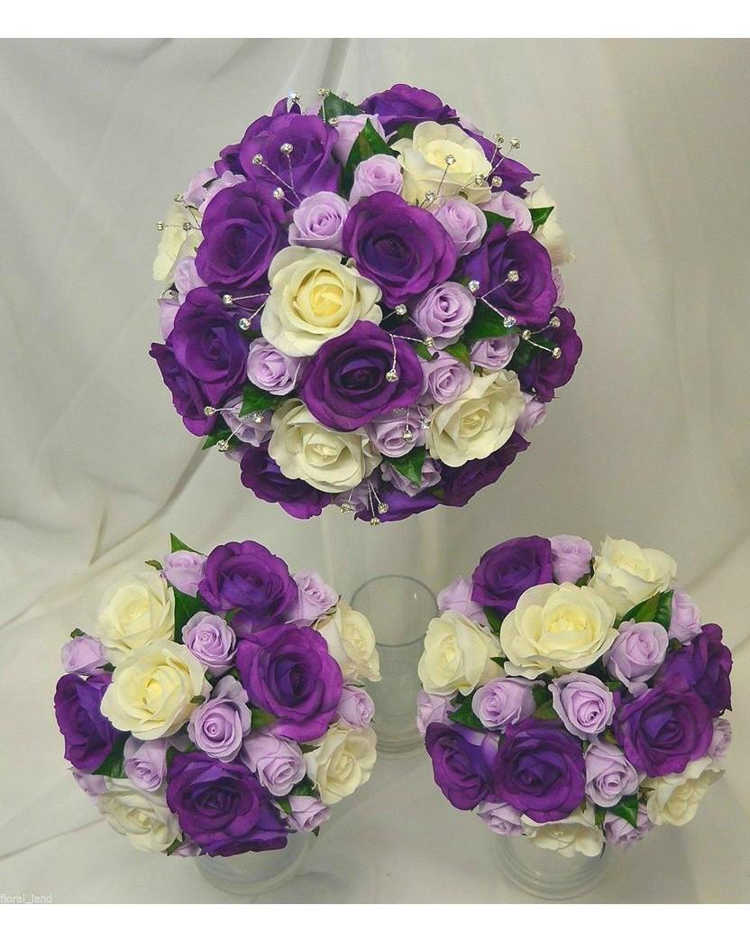 Latex Cream Purple & Silk Lavender Rose Wedding bouquet Set ...