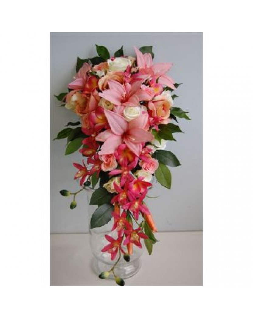 Lily Rose Orchid Teardrop Bouquet Catalogue Artificial Trees