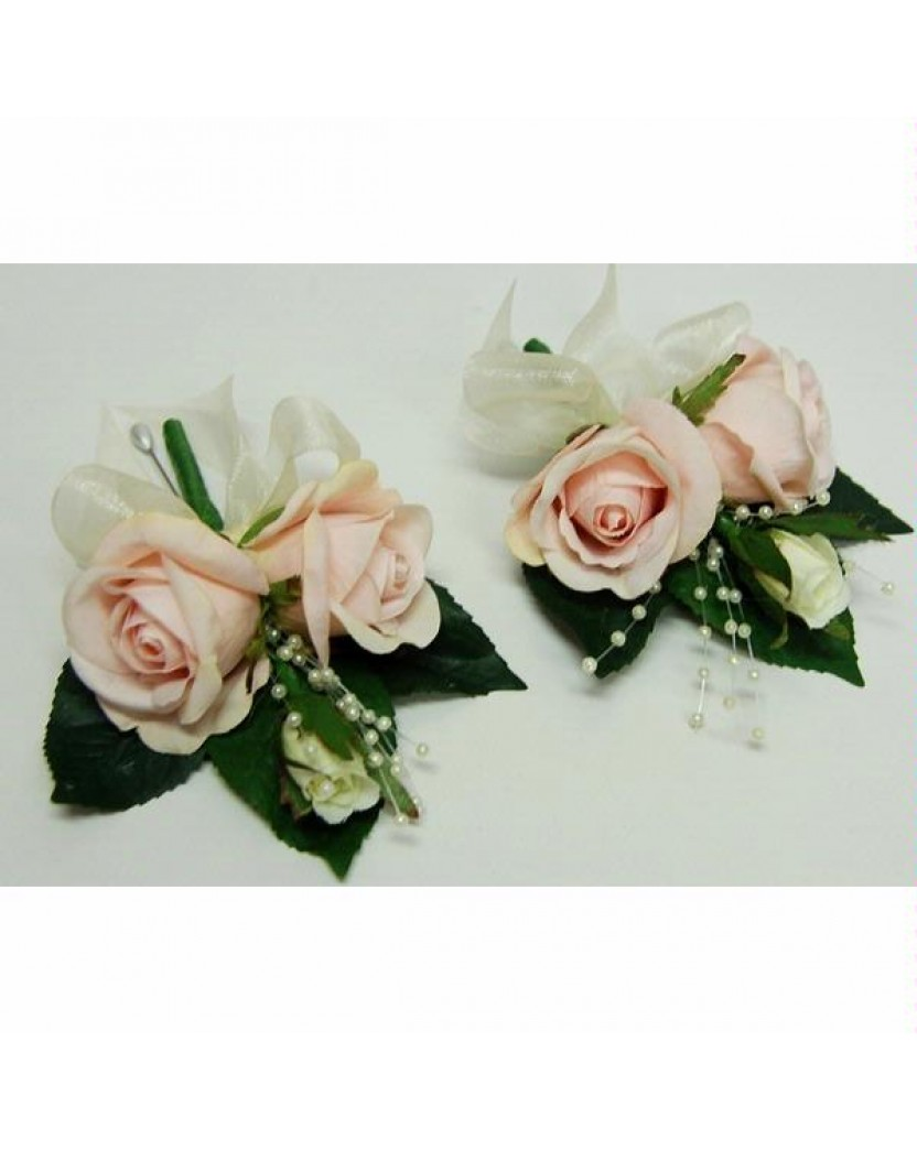 1x Silk Pink Rose Corsage Artificial Trees Plants Artificial