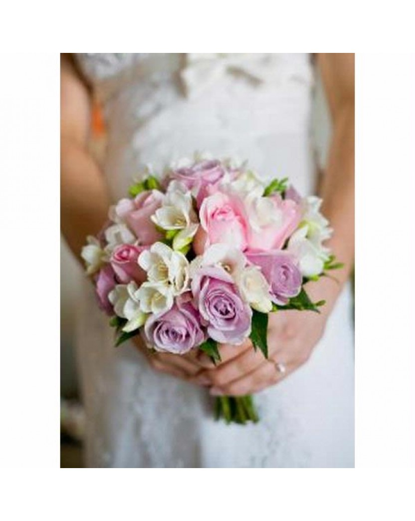 Fresh Flower Posy Bouquet Pink Rosesblue Moon Roses And White
