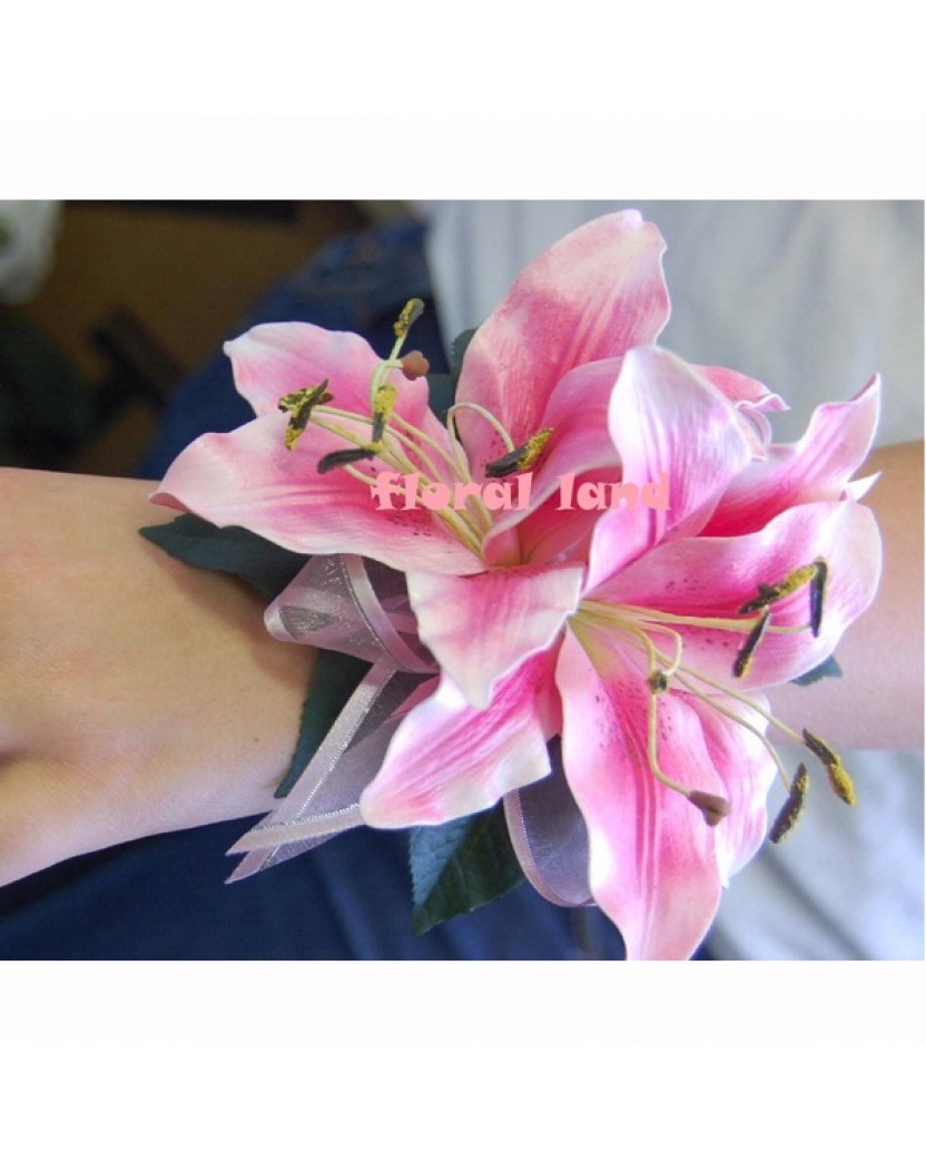 Latex Pink Tiger Lily Wrist Corsage - Catalogue | Artificial Trees ...
