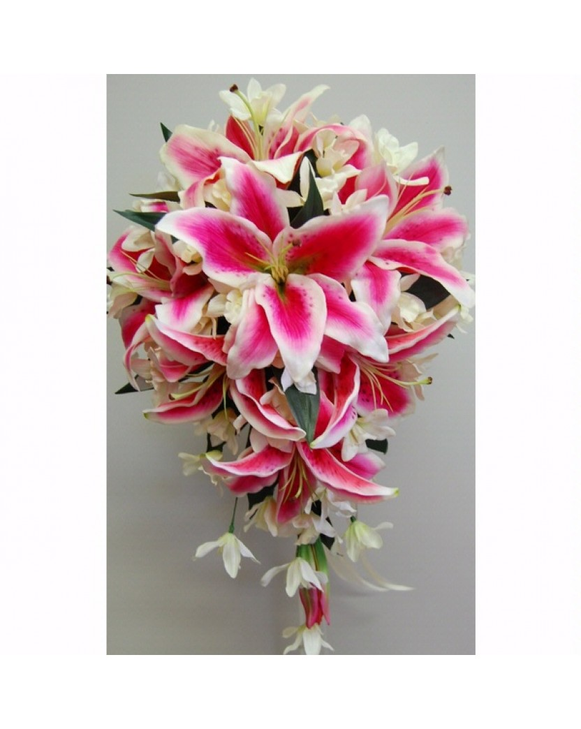 Latex Hot Pink Oriental Lily White Roses White Singapore Orchid