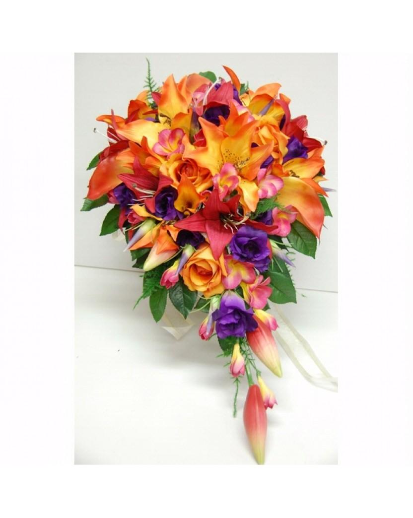 Tropical Teardrop Latex Orange Lily Purple Roses Pink Frangipani