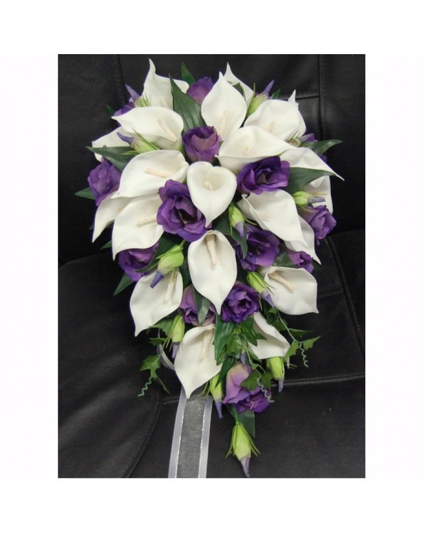 Latex White Calla Lilies Silk Purple Lisianthus Teardrop Wedding