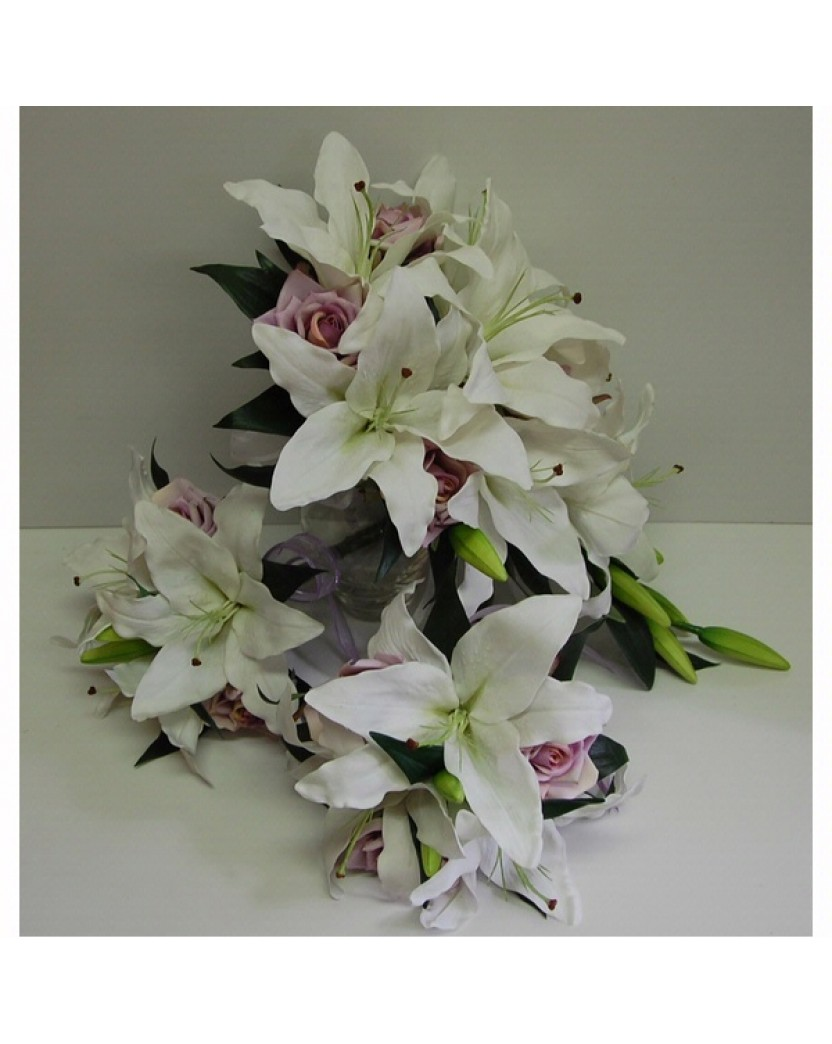 Latex Lily Silk Rose Bouquet Set Catalogue Artificial Trees