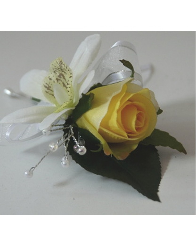 Silk Orchid Amp Yellow Rose Pin Corsage Wedding Bouquets