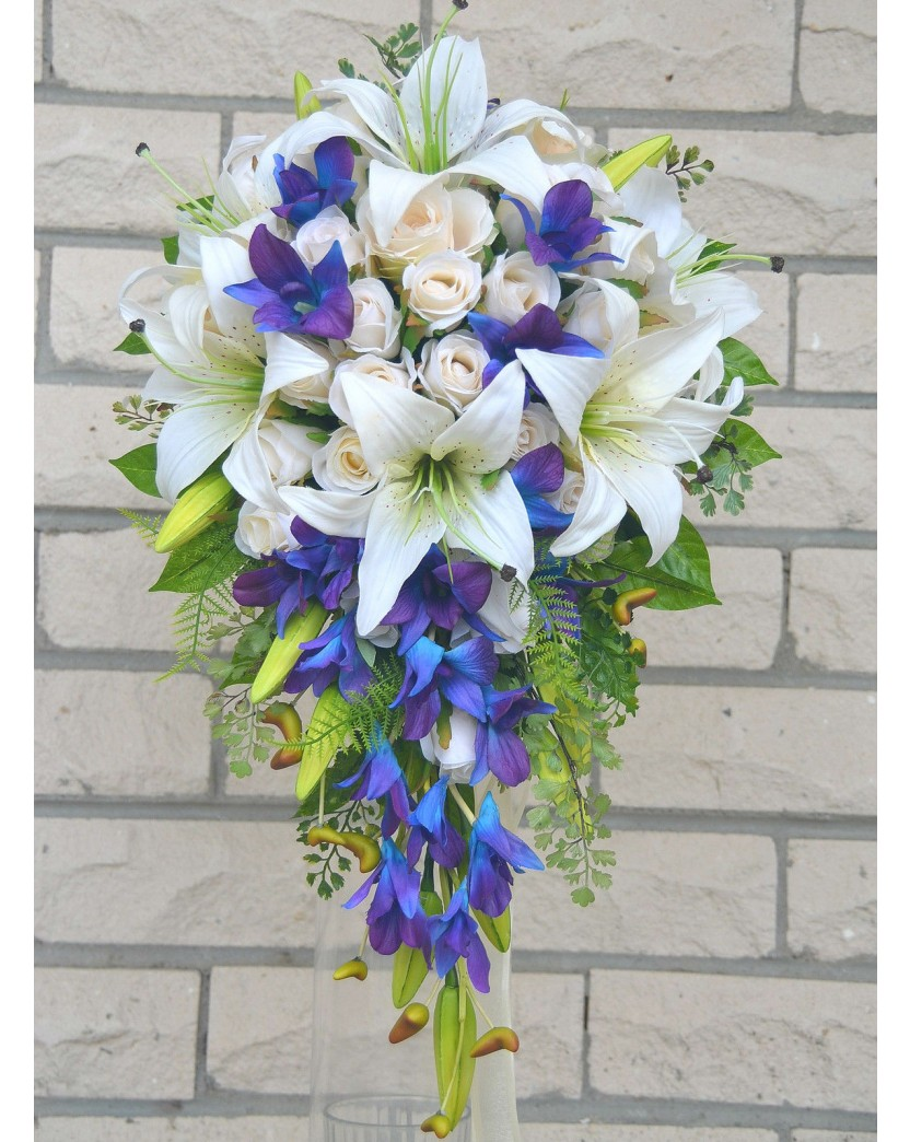 Latex Blue Singapore White Tiger Lily Silk Ivory Rose Wedding ...