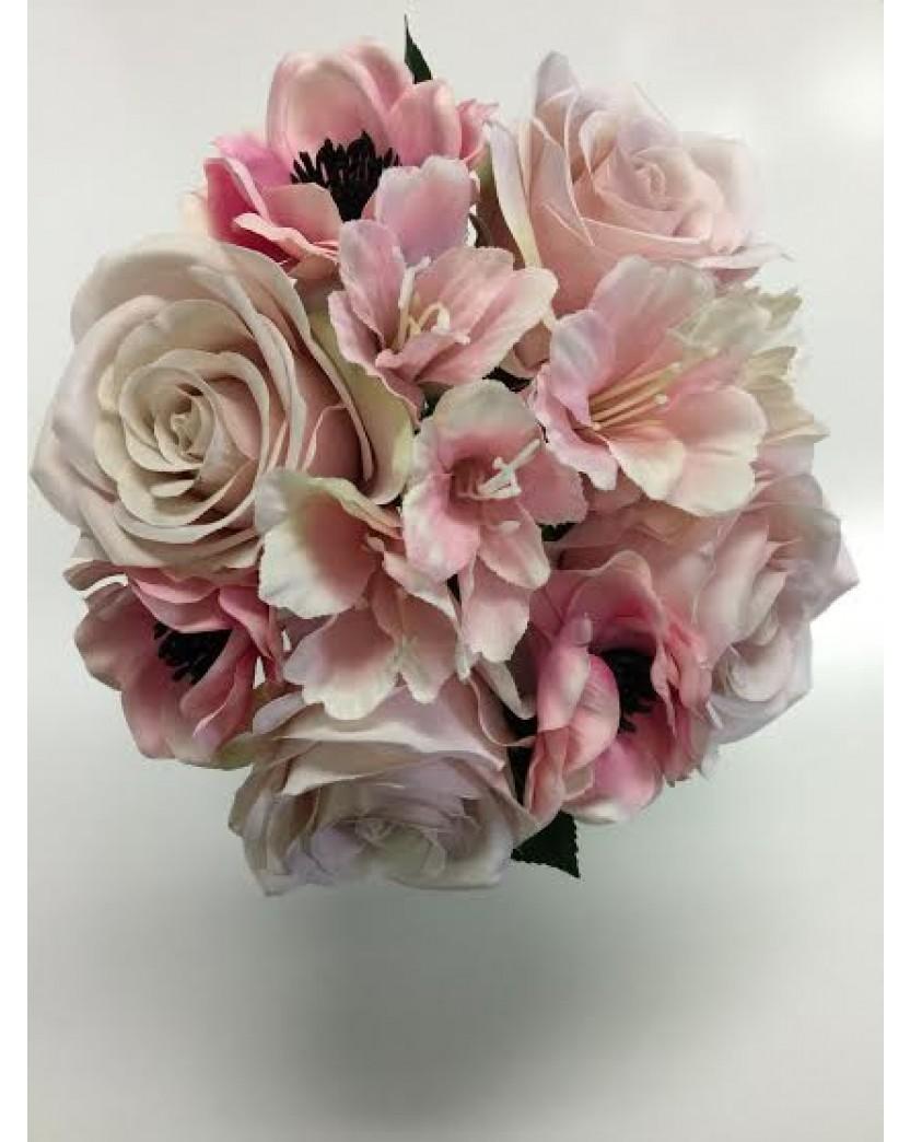 Silk Wedding Bouquet Light Dusty Pink Rose Roses Anemone Flower Posy