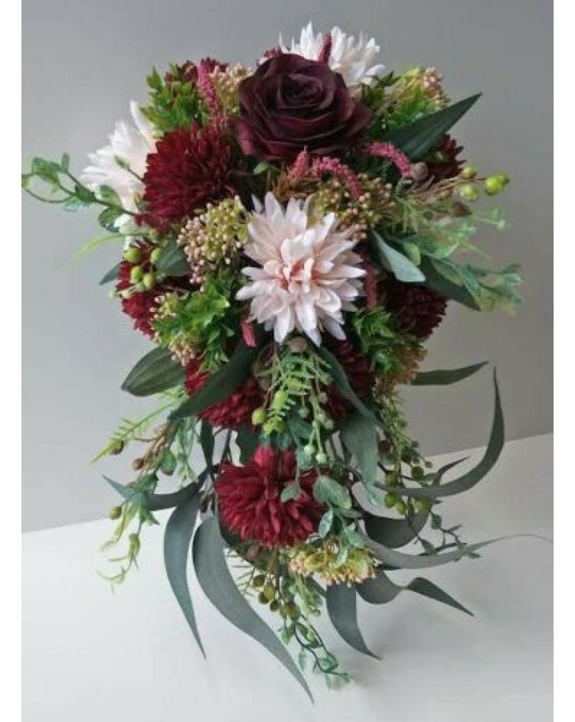 Australian Native Flowers Burgundy Rose Pink Dahlia Cascading Wedding Bouquet Fake Flower Teardrop Artificial Trees Plants Artificial Flowers Latex Real Touch Wedding Bouquets Flowers Melbourne Blue Singapore Orchids Roses Lily