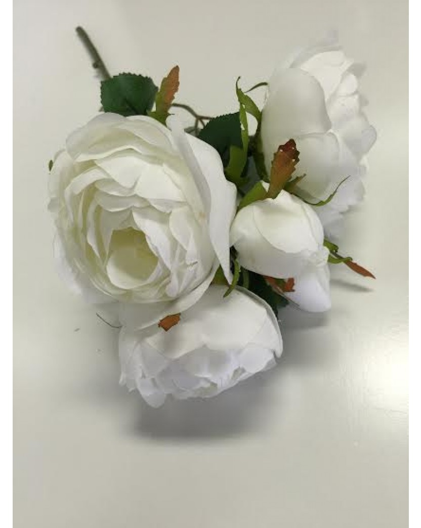 White Cabbage Rose Stem Flowers Artificial Trees Plants