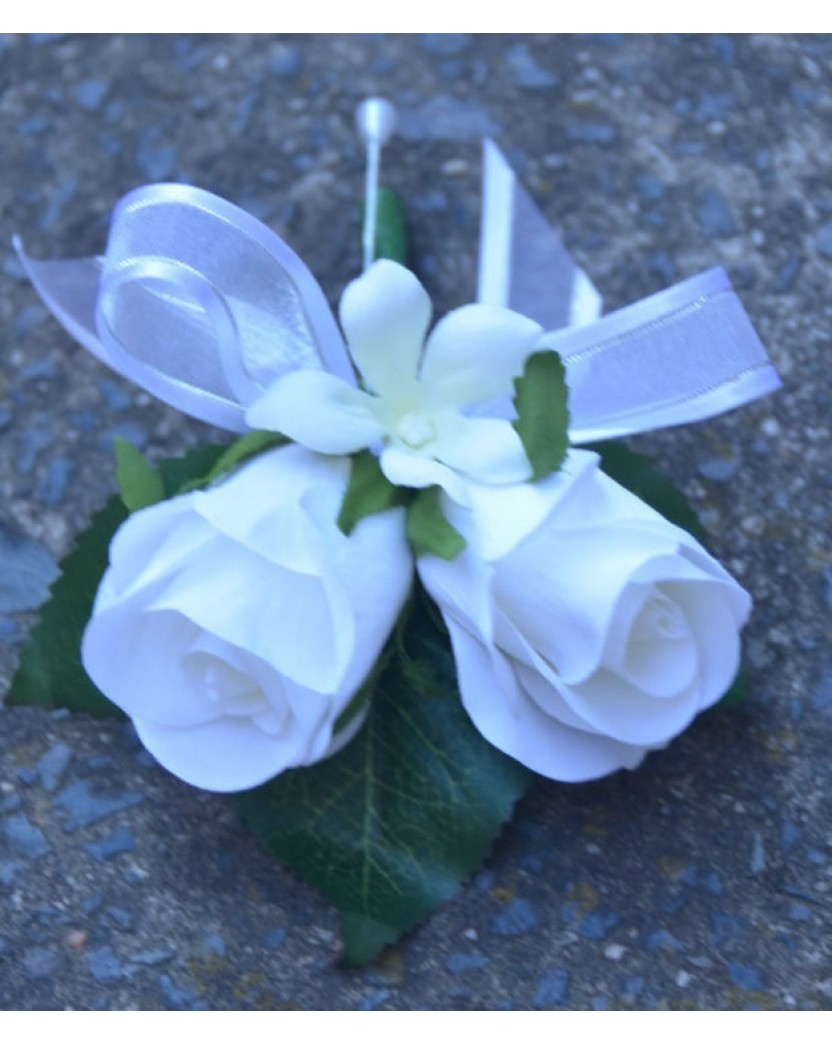 Silk White Rose Stephanotis Pin Corsage Artificial Trees Plants