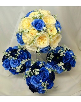 Bridal Bouquet Set Cream Ivory Blue Rose Wedding Bouquet Set