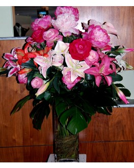 Latex Lily Lilies Rose Roses Silk Artificial Floral Flower Arrangement