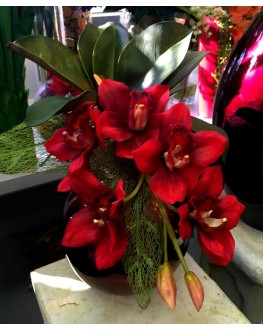 Latex Red Cymbidium Orchid Artificial Floral Flower Arrangement