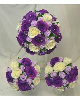 Latex Cream Purple & Silk Lavender Rose Wedding Bouquet Diamante Set