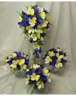 Latex Blue Singapore Orchid & White Yellow Frangipani Wedding Bouquet Set