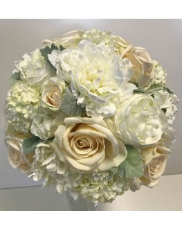 Bridal Artificial Posy Bouquet  Silk White Peony & Ivory Rose