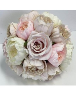 Bridal Artificial Posy Bouquet Silk Ivory Cream Latte Peony & Dusty Pink Rose