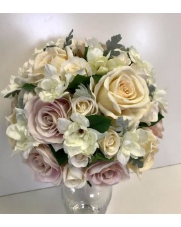 Bridal Artificial Posy Bouquet Silk Ivory & Dusty Pink Rose with Dusty Miller