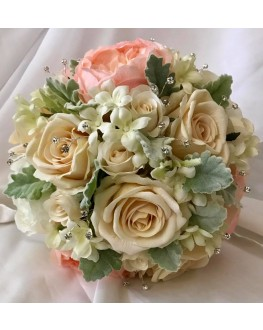 Bridal Artificial Posy Bouquet  Silk Peach Peony & Ivory Rose & Stephanotis with Dusty Miller & Diamante