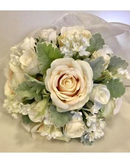 Bridesmaid Posy Bouquet Silk Ivory Rose with White Lilac & Dusty Miller Leaf