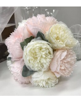 Artificial Silk White Pink Peony Bridal Wedding Posy 25cm wide