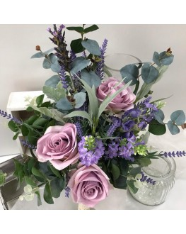 Artificial Silk Rustic Rose Lavender Gum Dusty Miller Spray Bridal Wedding Posy