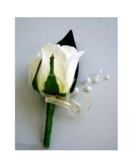 Latex White Rose Button Hole