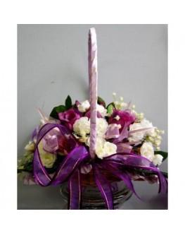 Silk Rose Flower Girl Basket