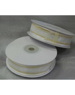 Ribbon Satin adge organza 22mm x 25 yds white