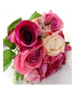 Silk Hot Pink rose premade posy