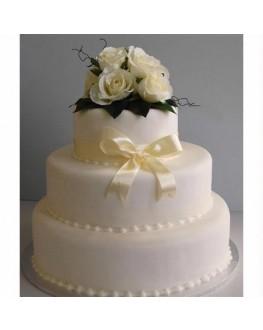 SILK WHITE CAKE TOPPER ROSE