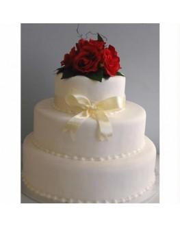 CAKE TOPPER SILK RED ROSE
