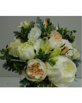 Bridal Wedding Posy Bouquet Silk Cream Peony Freesia Rose Dusty Miller Vintage