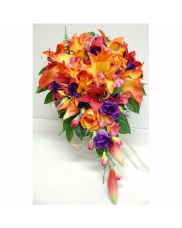 Tropical Teardrop latex orange lily purple roses pink frangipani