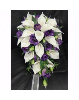 Latex White Calla lilies Silk Purple Lisianthus Teardrop Wedding Bouquet