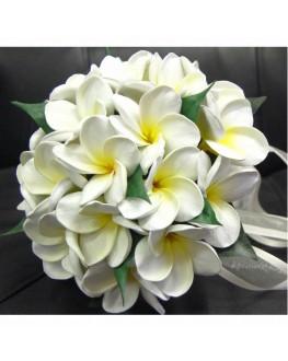 Bridal Posy White Yellow Latex Real Touch Frangipani
