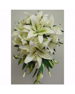 Teardrop in cream grean latex lilies , cream roses and cream lisianthusTeardrop