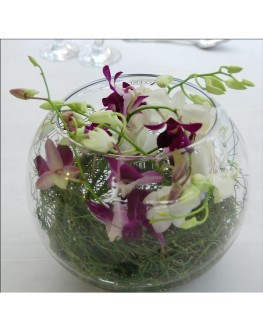 Singapore orchids purple and white table center in fish bowl