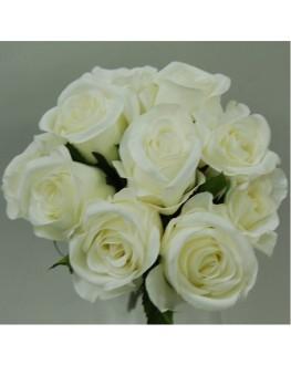 WHITE CREAM ROSE PRE MADE POSY 10 HEADS