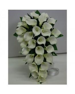 Latex Real Touch Cream/White Calla lily Teardrop