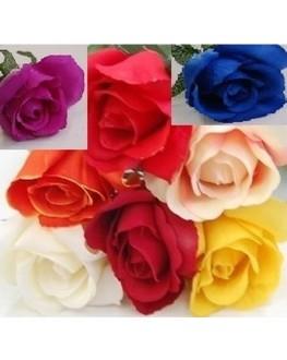 Silk Rose Stem blue purple orange red yellow cream pink