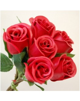 Latex Real Touch Red Rose Roses Bunch x 6 heads