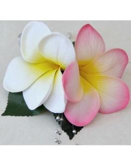 Latex pink white yellow frangipani pin corsage silver pearls