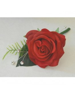 Latex red rose diamante button hole groom pin hole flowers