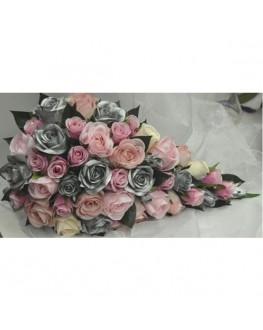 Silk flower silver rose dark pink teardrop bouquet flowers