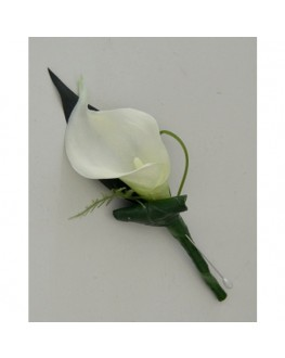 Latex white calla lily button hole groom flowers
