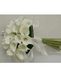 Latex calla lily white bridal posy with diamante